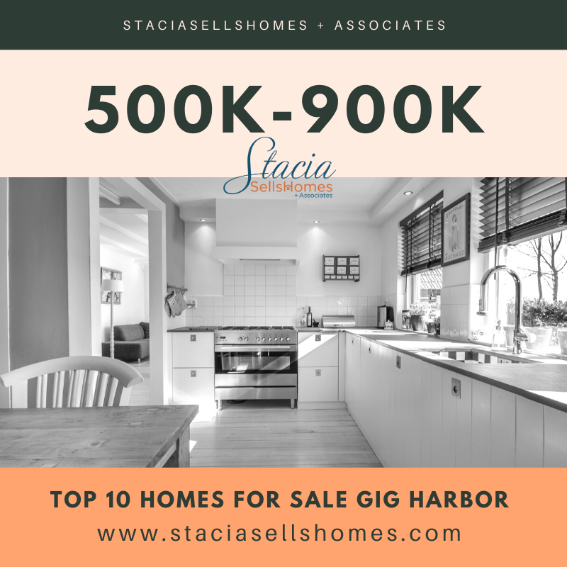 Top 10 Homes For Sale in Gig Harbor 500K-900K