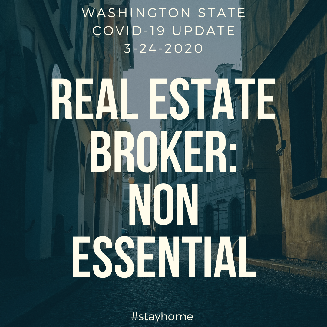 WA State Real Estate Brokers Non Essential Personnel COVID-19 Update